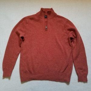J. Crew Factory half zip lambswool sweater rust L